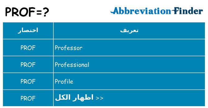 ما هو Prof تعاريف Prof الباحث عن اختصار