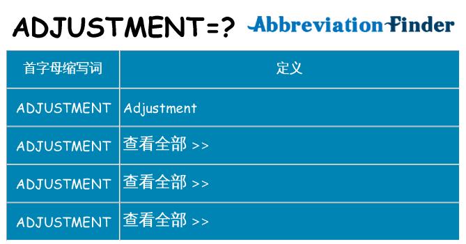 adjustment 代表什么