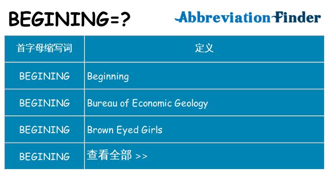 begining 代表什么
