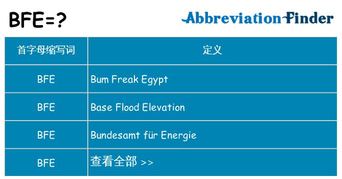 bfe是什么意思_BFE是什么意思? - BFE的全称   在线英文缩略词查询