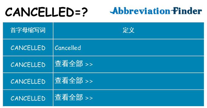 cancelled 代表什么