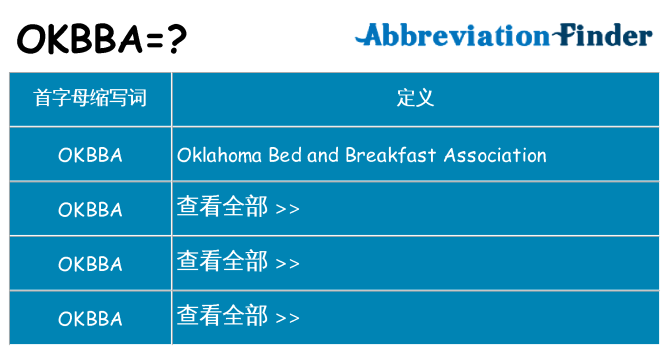 okbba 代表什么
