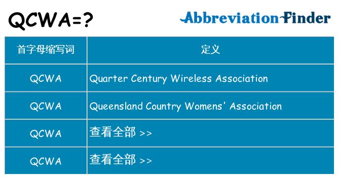 qcwa 代表什么