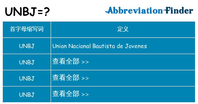 unbj 代表什么