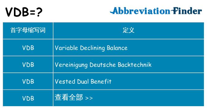 vdb 代表什么