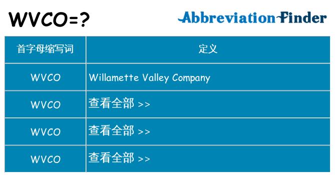 wvco 代表什么