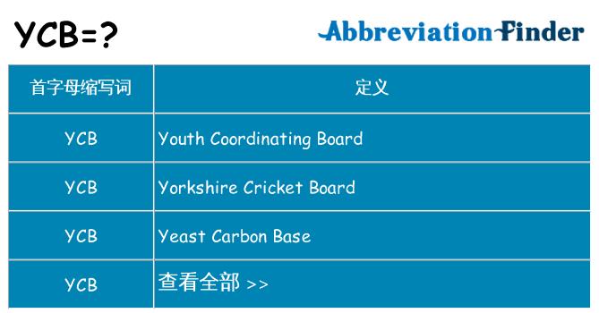 ycb 代表什么
