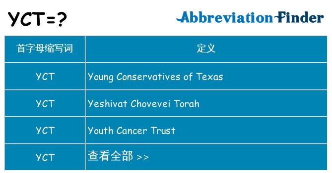yct 代表什么
