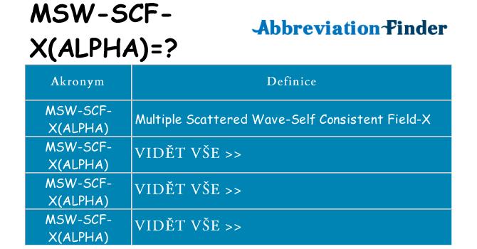 Co znamená msw-scf-xalpha