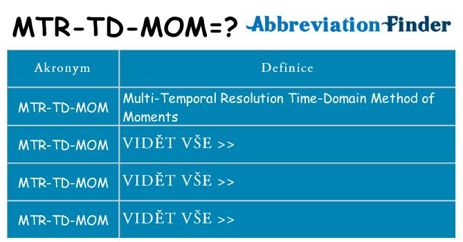 Co znamená mtr-td-mom