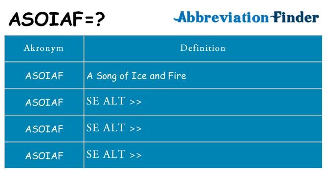 Hvad betyder asoiaf står for