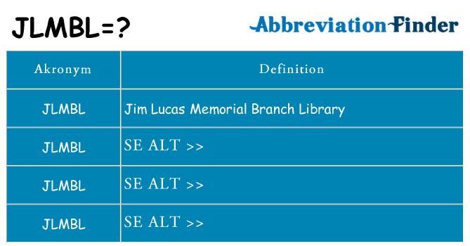 Hvad betyder jlmbl står for