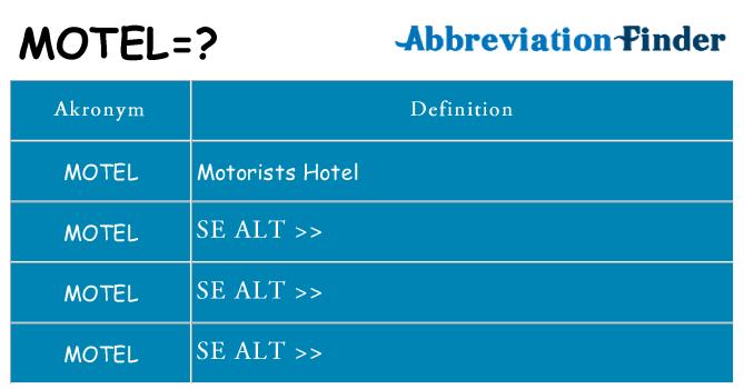 Hvad betyder motel står for
