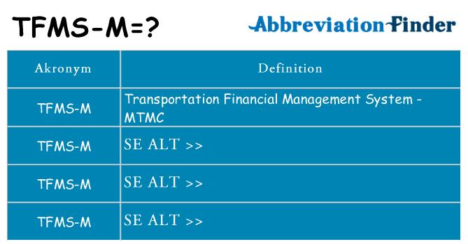 Hvad betyder tfms-m står for