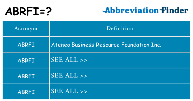 What does abrfi stand for