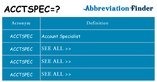 What does acctspec stand for
