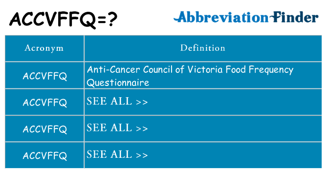 What does accvffq stand for