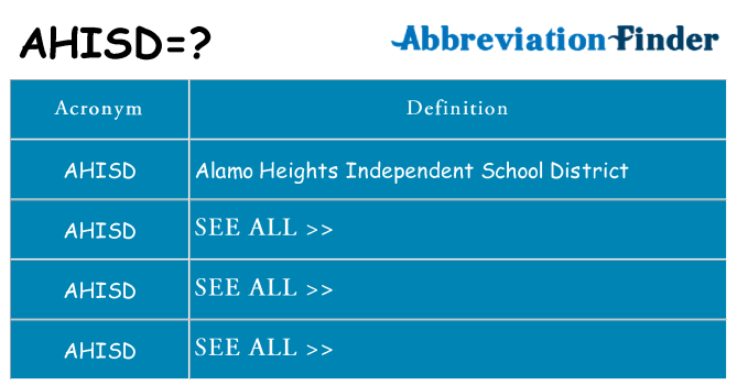 What does ahisd stand for