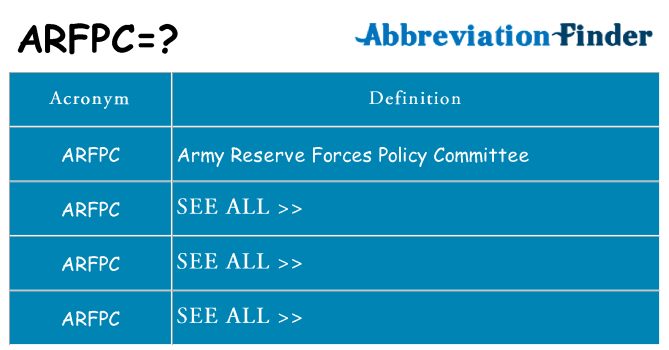 What does arfpc stand for