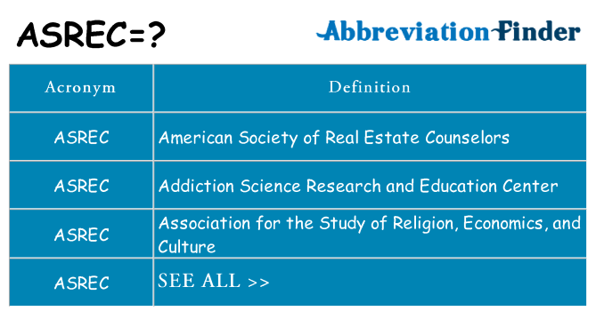 What does asrec stand for