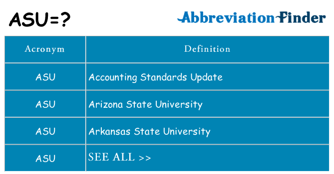 What does asu stand for