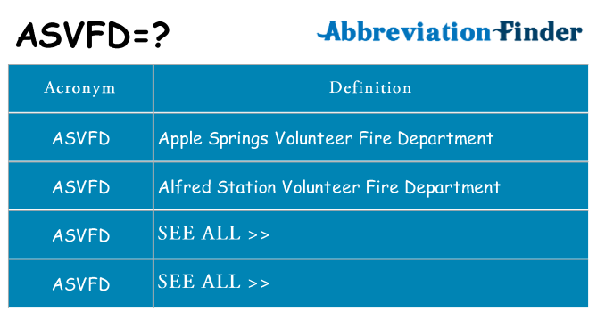 What does asvfd stand for