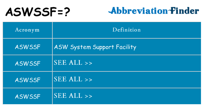 What does aswssf stand for