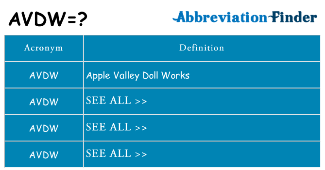 What does avdw stand for