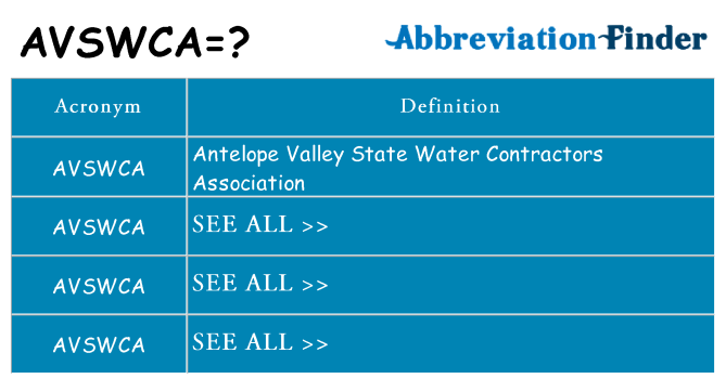 What does avswca stand for