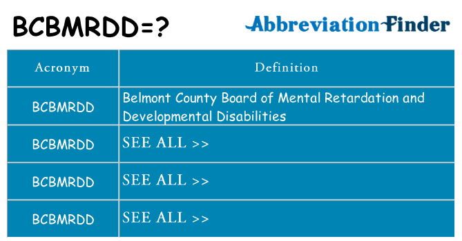 What does bcbmrdd stand for