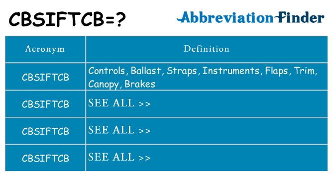 What does cbsiftcb stand for