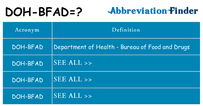 What does doh-bfad stand for