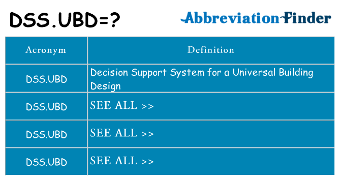 What does dss-ubd stand for