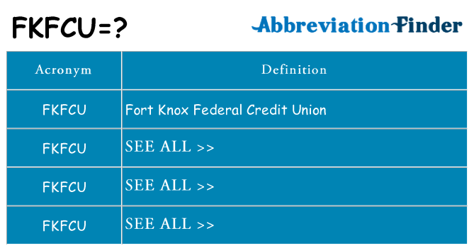 What Does Fkfcu Mean Fkfcu Definitions Abbreviation Finder Looking for online definition of fkfcu or what fkfcu stands for? abbreviation finder