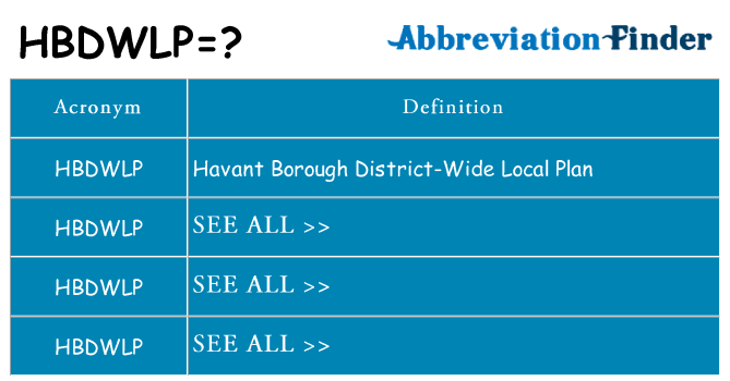 What does hbdwlp stand for