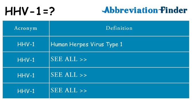 What does hhv-1 stand for