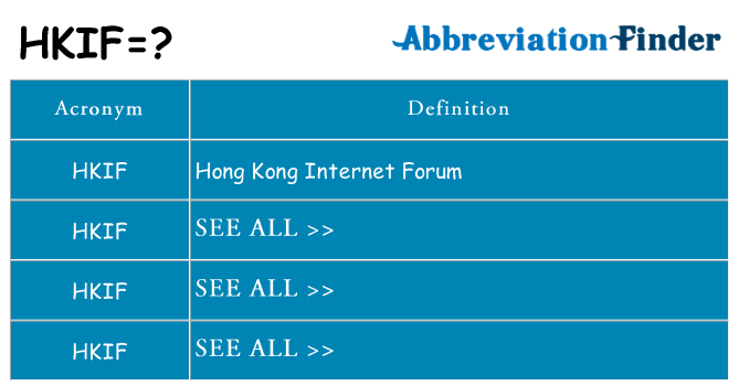 What does hkif stand for