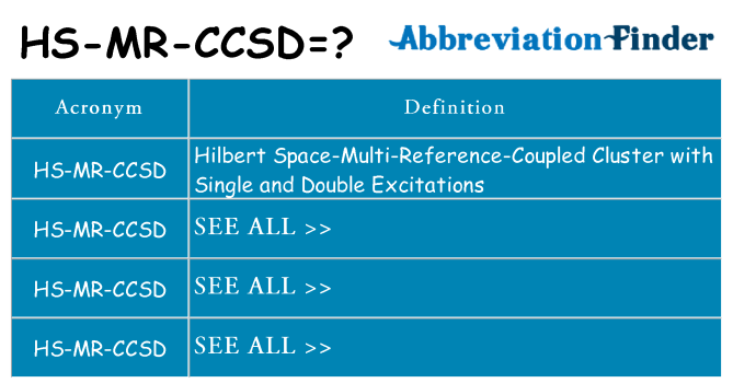 What does hs-mr-ccsd stand for