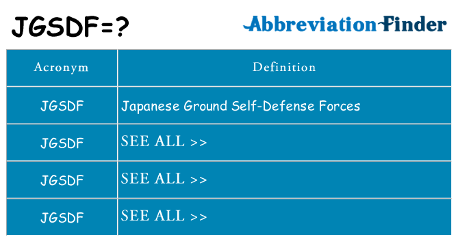 What does jgsdf stand for