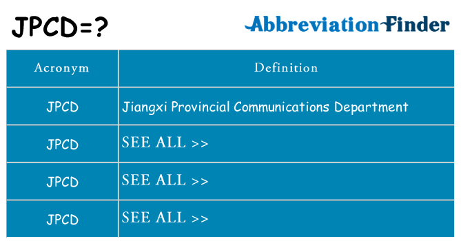 What does jpcd stand for