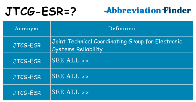 What does jtcg-esr stand for