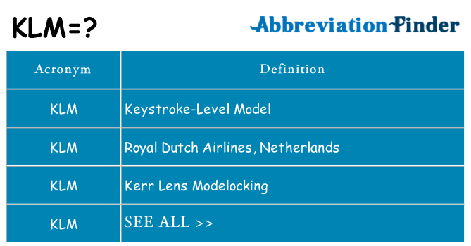 What does klm stand for