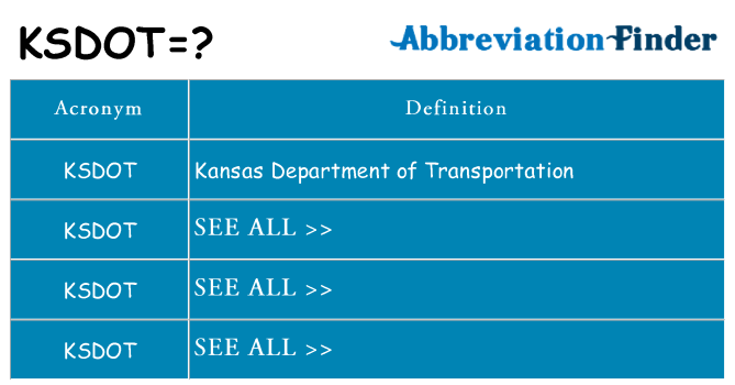 What does ksdot stand for