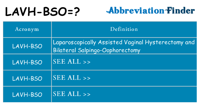 What does lavh-bso stand for