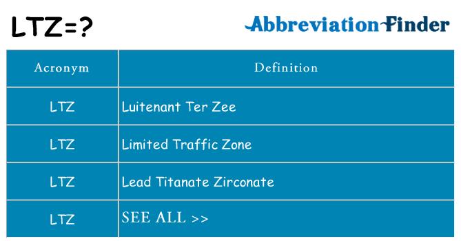 What Does Ltz Mean Ltz Definitions Abbreviation Finder
