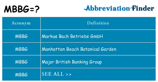 What does mbbg stand for