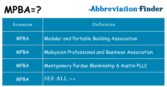 What does mpba stand for