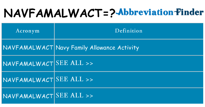 What does navfamalwact stand for