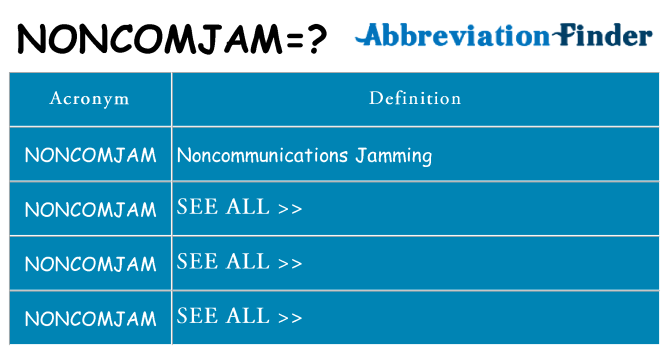 What does noncomjam stand for