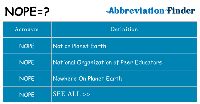 What does NOPE mean? - NOPE Definitions | Abbreviation Finder